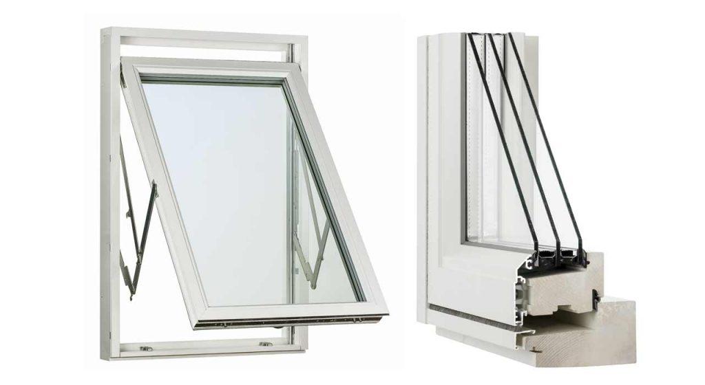 Två fönster med vit karm